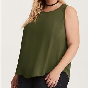 {TORRID} Olive Green Challis Ribbed Tank Top